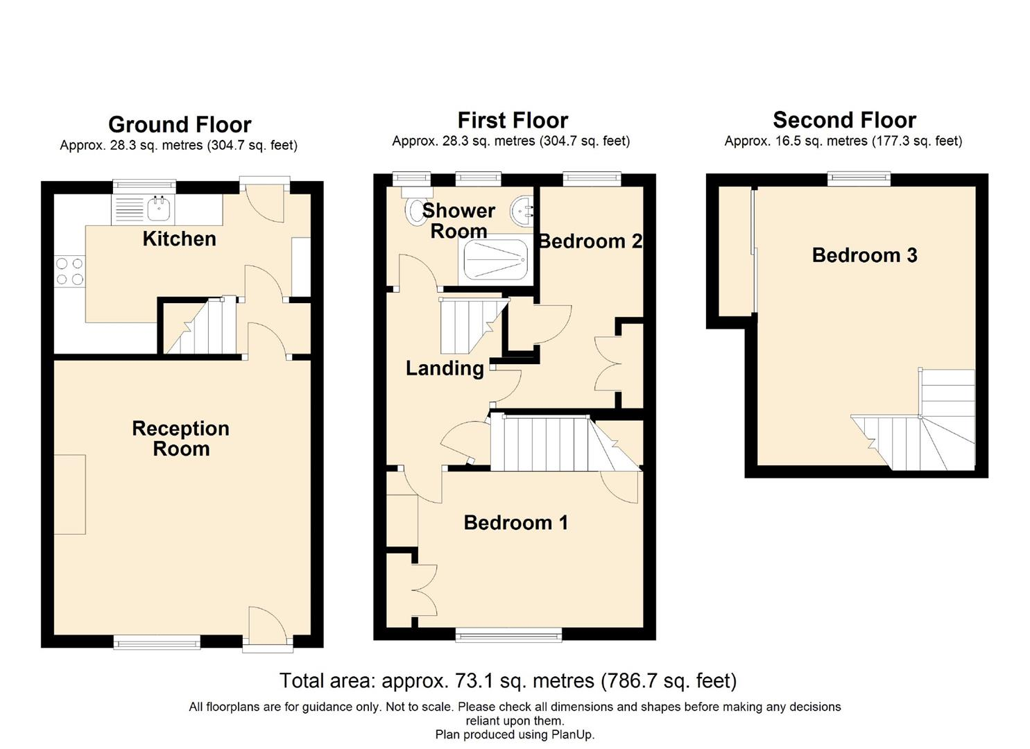 3 Bedroom Mid Terrace House For Sale - Floorplan 1